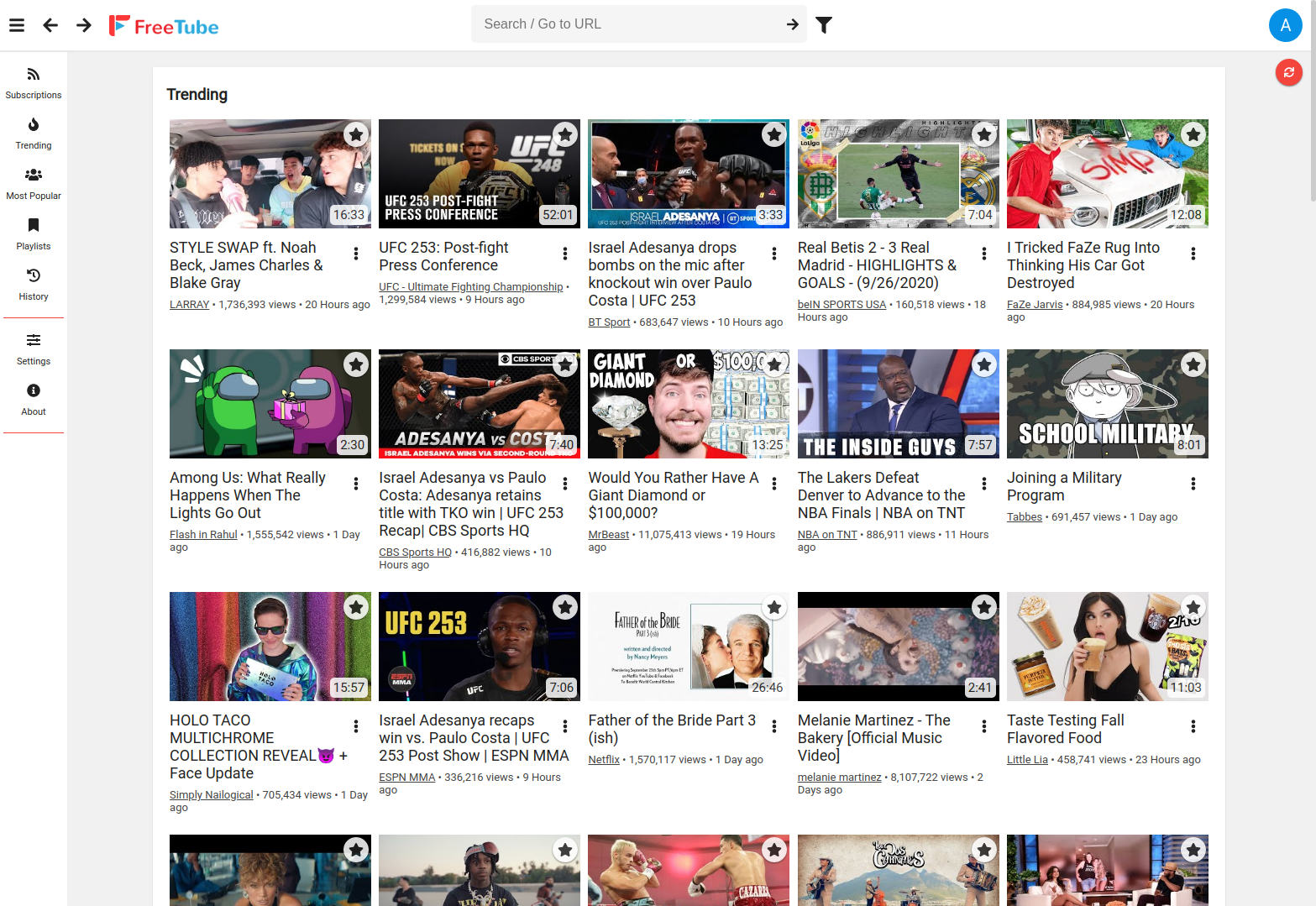 FreeTube's Latest Subscriptions using the grid view